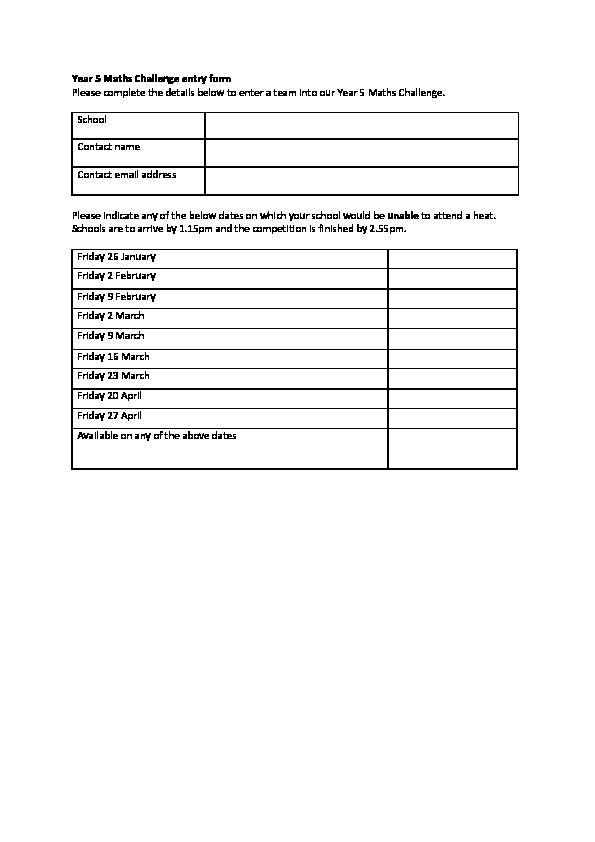 Year 5 Maths Challenge entry form - King Edward s School 29bd1ea87