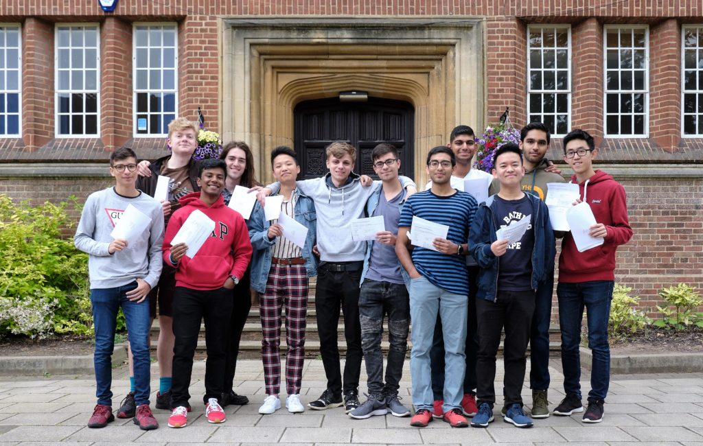 Boys with their IB results